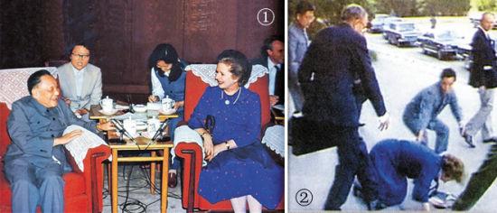 1/邓小平与撒切尔的谈判成为外交一代假话; 2/谈判结束后不小心摔倒的撒切尔,当时应该在找地洞吧?