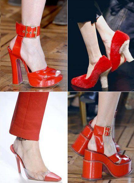 大红色鞋搭配图片