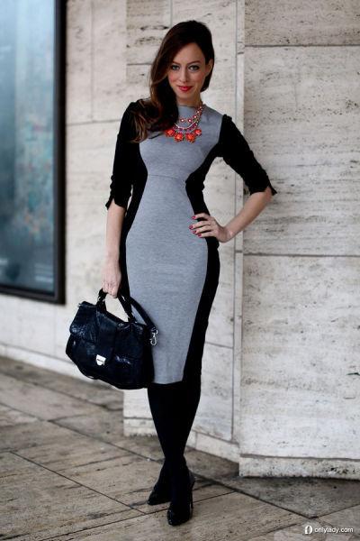 色彩拼接裙