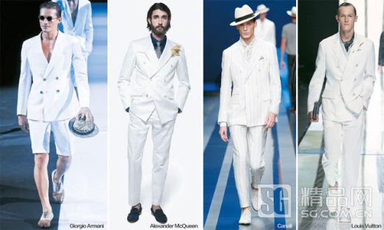 复古味道的白调西装造型是出席夏日酒会的绝佳造型