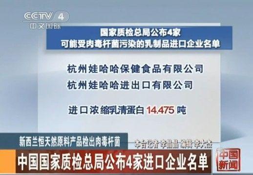 中国四家企业进口新西兰肉毒杆菌奶粉
