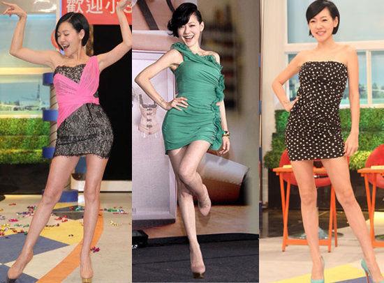 小S很懂得用腰线和短裙来拉长身材比例