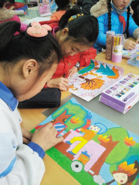 儿童手绘作品宣传山林防火