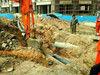 老煤气管道被挖断