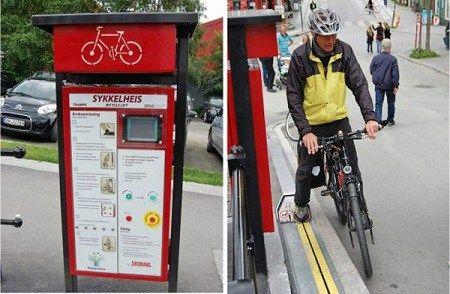 挪威建首个自行车电梯骑车爬坡不费力