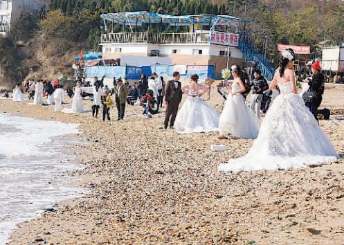 """新人海边""""扎堆儿""""拍婚纱照"""